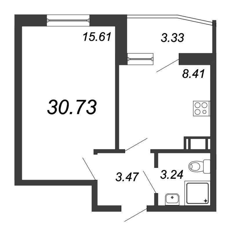 Однокомнатная квартира со встроенным асимметричным балконом
