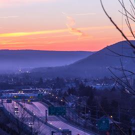 Almost Morning. by Art Tilts - City,  Street & Park  Vistas ( sunrise, mountains, golden hour, valley fog, vehicles, binghamton, highway, lights )
