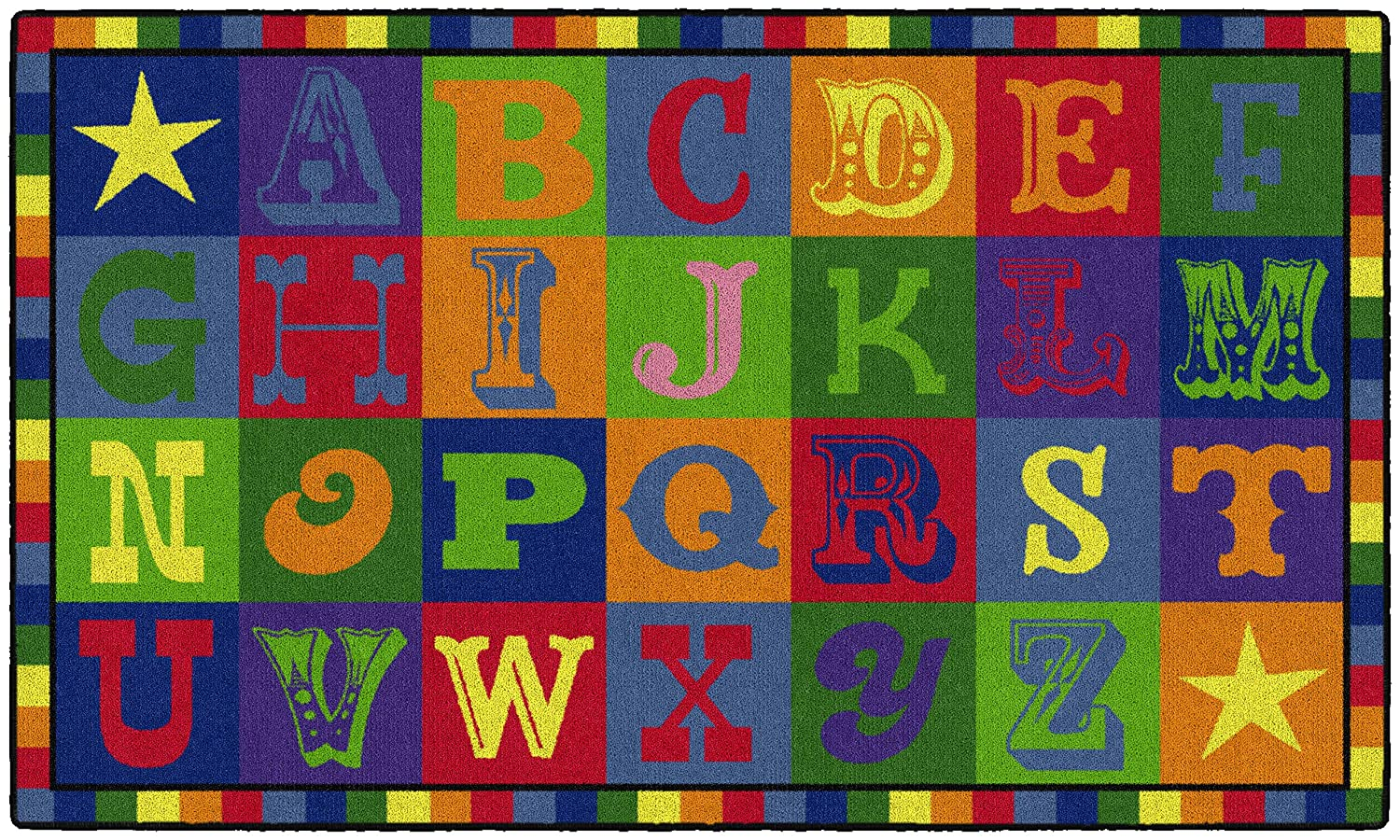 Colorful Alphabet Blocks Children's Area Rug