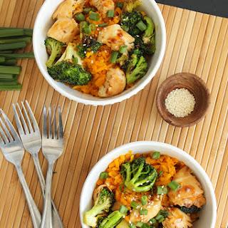 "Teriyaki Chicken and Broccoli with Butternut Squash ""Rice""."