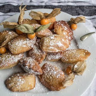 Toffee Butterscotch Madeleines With Physalis.