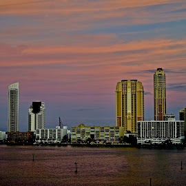 Sunset on Williams Island, FL by Neil Dern - City,  Street & Park  Skylines ( waterscape, sunset, building, colors, architecture )