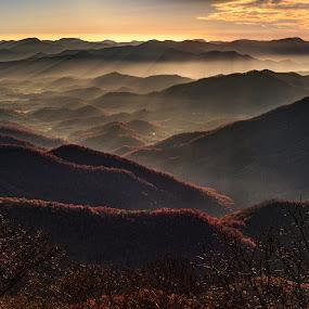 Smokey Rise by Jeremy Yoho - Landscapes Sunsets & Sunrises ( mountains, mountain, fog, sunset, sunrise, smoke )
