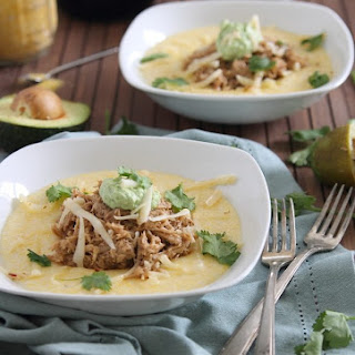 Slow Cooker Balsamic Pulled Pork With Polenta And Avocado Crema.