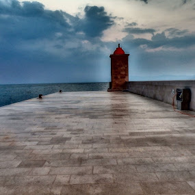 Lighthouse by Iztok Conic - Landscapes Waterscapes ( sunset, lighthouse, sea, boat )