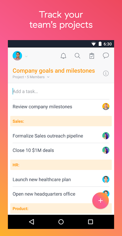 Asana: organize team projects – zrzut ekranu