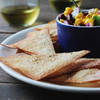 Baked Wonton Chips with Corn Salsa