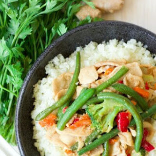 Frozen Vegetable Asian Chicken Stir Fry Cauliflower Bowl.