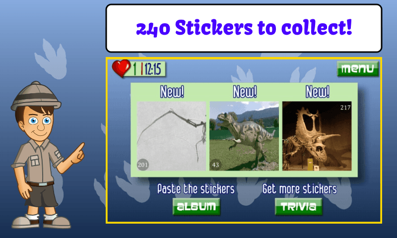 Dinosaur Trivia and Stickers- screenshot