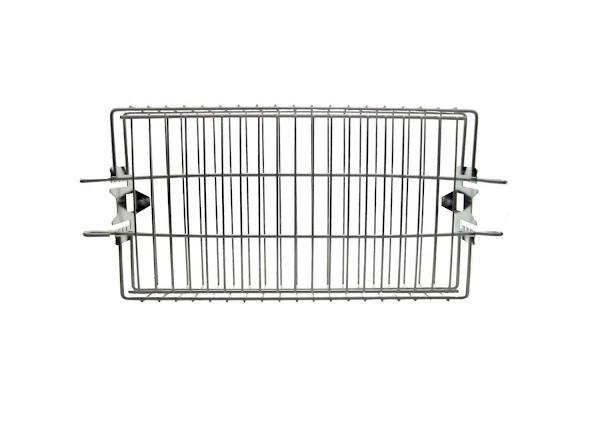 I used a flat rotisserie basket.  http://www.amazon.com/dp/B004Z2G0BW?psc=1