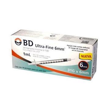 Jeringa BD Ultra Fine   Para Insulina 1Ml 31Gx6mm Caja x10Und.