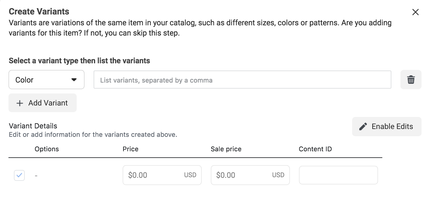 Creating variants in product catalog