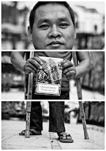 "Photo: Triptychs of Strangers #29: The highly recommended Mekong Expert - Ho Chi Minh City  About this shot After I spend 4 days in the countryside of the Mekong Delta, Ho Chi Minh City was a great surprise. I loved the place for having wide streets, more than 10° degrees and yes traffic lights.  I was striving through the let's call it city-centre of Ho Chi Minh City on my last day in Vietnam. I met our stranger in front of Municipal Theatre, he was sitting on a bench reading and drinking iced green tea.  About this stranger I'd like to introduce you to Mambo. He is 24 years old and lives in a village in the Mekong Delta.  He was not too enthusiastic about Ho Chi Minh City. In his humble opinion a far too noisy, big, busy and unresting place. If it wasn't for his mission he wouldn't be here that often.  And he - as a self described sometimes silent type - rather seeks respite in an oasis of calm, natural harmony and peaceful life: The Mekong Delta. He likes to invite you all on a trip starting with a free drink and your own Non La (that traditional conical hat) on riverboats for an excursion across small less touristic river branches of the Mekong. Through islands covered with lush flora and small rural communities.  You will have the opportunity to visit floating markets and stay overnight at a local house. You will also learn how they produce coconut candy, honey tea, rice noodles and of course rice wine (be careful here). This is just a selection of his ideal of a perfect trip through the Mekong ;)-  Already pretty much for one or two days? I am pretty sure he will always find the right time for you to take a rest. I would always recommend to take a nap in a hammock, they are part of most restaurant's inventory in the south of Vietnam.  No doubt, Mambo is a great tourist guide, even though it might take him another two years to finish studying tourism. ""I won't be like other tourist guides, I prefer only small groups and individual private tours. I have a lot more passion than others but I would never work myself to death. I always needed time to give myself some rest … and so I will do in the future""  His family is not rich but luckily he is the only son out of five who has been able to study.  Mambo is into water sports and he had a quite active past as a swimmer. But studying and working to be able to finance all this kept him away from this to long.  He also loves to read and the book he is holding in the middle is his favorite novel The Quiet American by Graham Greene - a story about friendship, love and war in Indochina situated in Saigon and the Mekong Delta. I didn't read it myself, but how this story takes it's time and describes the tension years before the vietnam war started.  Back to the life in the Mekong: most of the things here are done not by car, bike on foot, but by boat. And that's why this is the perfect place for Mambo. He suffers from Polio and is palsied from hip to foot. Polio is caused by a virus which can be spread from person-to-person primarily through faecal contamination of food and water. It affects mainly children under five years of age, in his case when he was two years old.  But as far as he has come already shows us how he is capable to overcome any obstacles. How can we even speak of a handicap here?  <i>""Who else can our stranger #29 be than The highly recommended Mekong Expert""</i>  #PlusPhotoExtract"