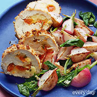 Brie & Apricot-Stuffed Chicken with Sauteed Radishes.