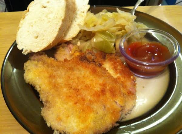 Tonkatsu With Almost Traditional Boiled Cabbage, Katsu Sauce And Toasted Bread.