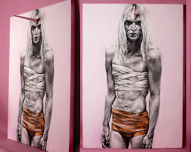 Photo: My Champion - Installation, charcoal on canvas + handmade extension. 175x130cm. Modelled by Andrej Pejic. 2011. FOR SALE.