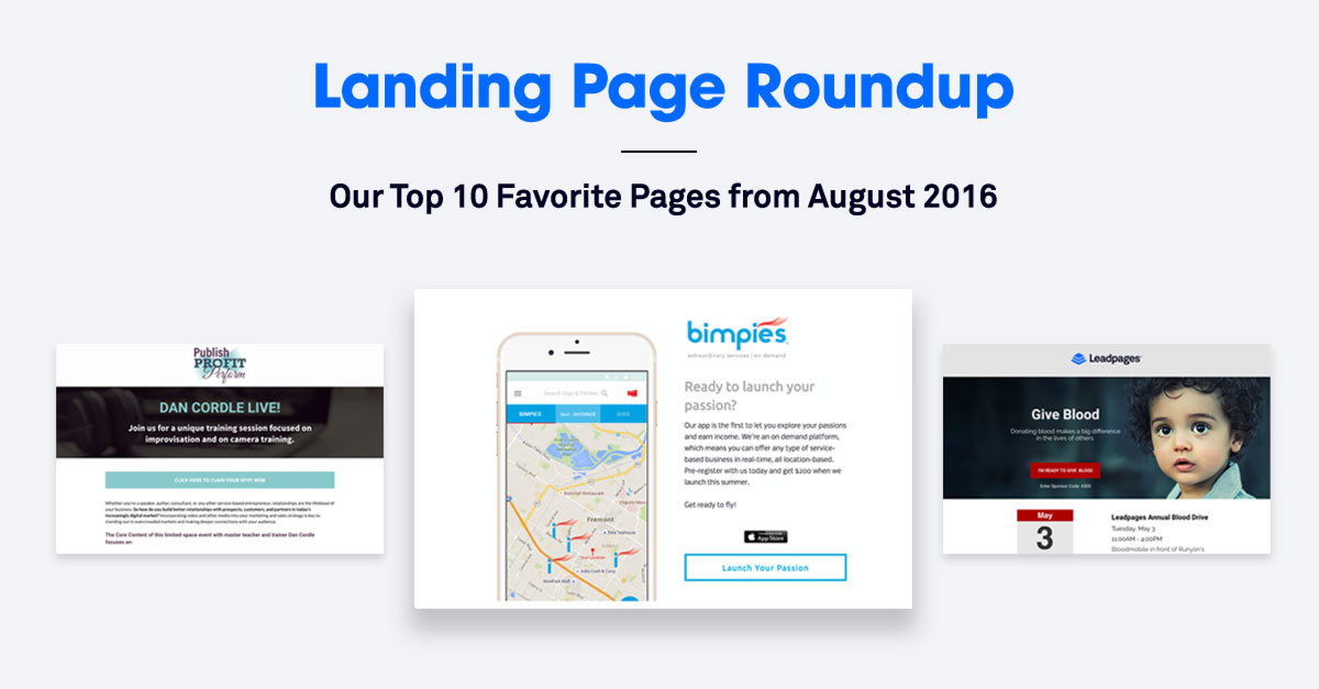Landing Page Roundup: The 10 Best Landing Pages We Found in August 2016