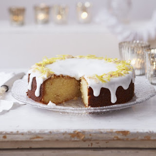 Lemon and Marzipan Drizzle Cake.