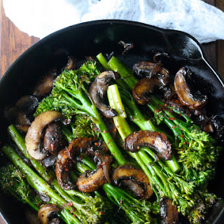 Roasted Broccolini with Mushrooms in Balsamic Sauce Recipe