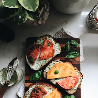 Open-Faced Heirloom Tomato Sandwiches.