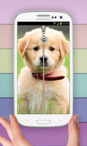 Puppy Zip Screen Lock Cute