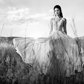 She's like the wind by Junita Fourie-Stroh - Wedding Bride & Groom ( wedding photography, wedding gown, black and white, wedding day, wedding, south africa, wedding dress, wedding photographer, bride, destination wedding photographers, portrait )