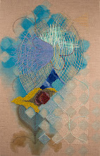 """Photo: """"Cloud"""" 11"""" x 17""""  Acrylic paint on linen, hand embroidery and beadwork.  All rights reserved, 2015"""