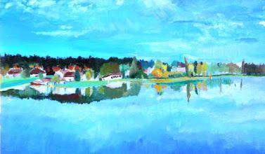 Photo: Détail - l'étang de sault l'automne (100*50 cm) huile sur toile 2003