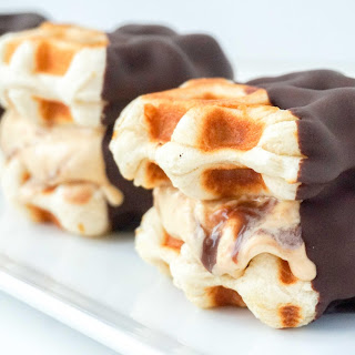 Caramel Fudge Ice Cream Waffle Sandwiches