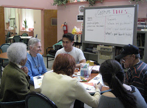 Photo: Occupational Therapy interns, Liana and Lance, lead a session that included emotions, art, and photography.