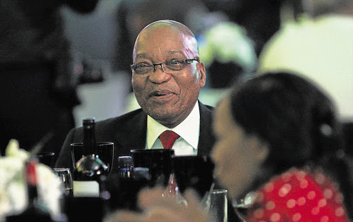 President Jacob Zuma was all smiles at last night's ANC Progressive Business Forum banquet in Mangaung in the Free State. The 53rd ANC national congress starts there today.
