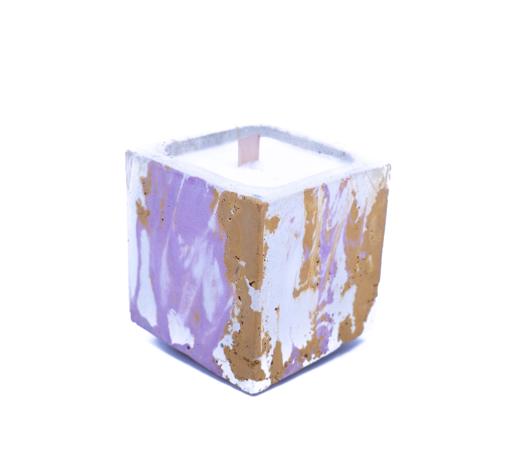 bougie en béton coloré DIY