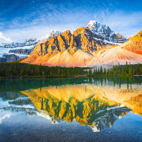 reflections of the rockies illuminated by Penny Miller - Landscapes Mountains & Hills (  )