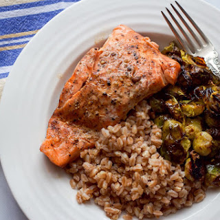 Balsamic Salmon and Brussels Sprouts with Farro Recipe