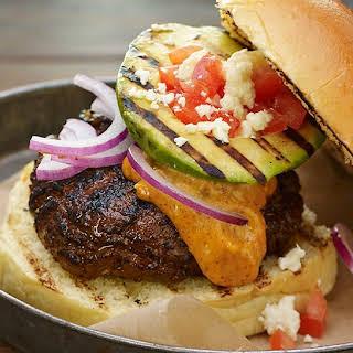 Southwestern Smoky Ranchero Burger with Grilled Avocado.