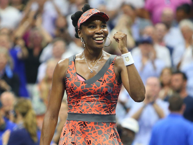 Venus Williams celebrates after Tuesday's quarterfinal. Picture:USA TODAY/JERRY LAI