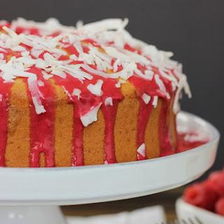 Raspberry Glazed Coconut Chiffon Cake