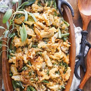 Green Bean Casserole with Tempura Onion Strings Recipe