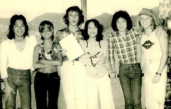 Photo: With Teresa Carpio, Sandra Lang, Anders Nelsson and the guys from Jade at a contract signing PR event for my first ever concert production [age 19!] @ The Pink Giraffe, Sheraton Hong Kong Hotel July 1975 [ The gig got rained-off by the way!!]