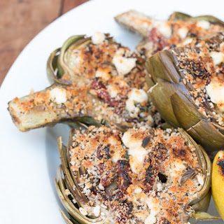 Grilled Artichokes Stuffed with Feta and Sun-Dried Tomatoes.