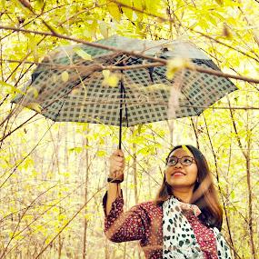 Rain or Shine by Dee S. Alkhatib - People Portraits of Women ( red, nature, polkadot, blue, green, shawl, umbrella, trunks, trees, lady, yellow, women )