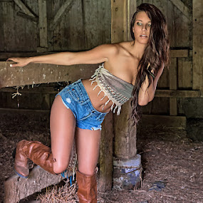 Cowgirl Boots by David Lawrence - People Portraits of Women ( fairland farm ashley boots cowgirl model pose barn country indiana )