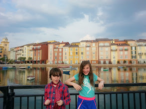 Photo: Waiting for the water taxi from the hotel for an evening back at the park.  The hotel is designed to look like Portofino in Italy.