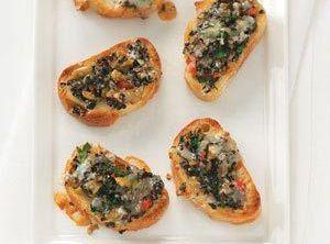 Olive Mozzarella And Garlic Crostini Appetizer Recipe