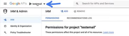שם הפרויקט בגוגל בשביל להגדיר את התיבת מייל הצוותי