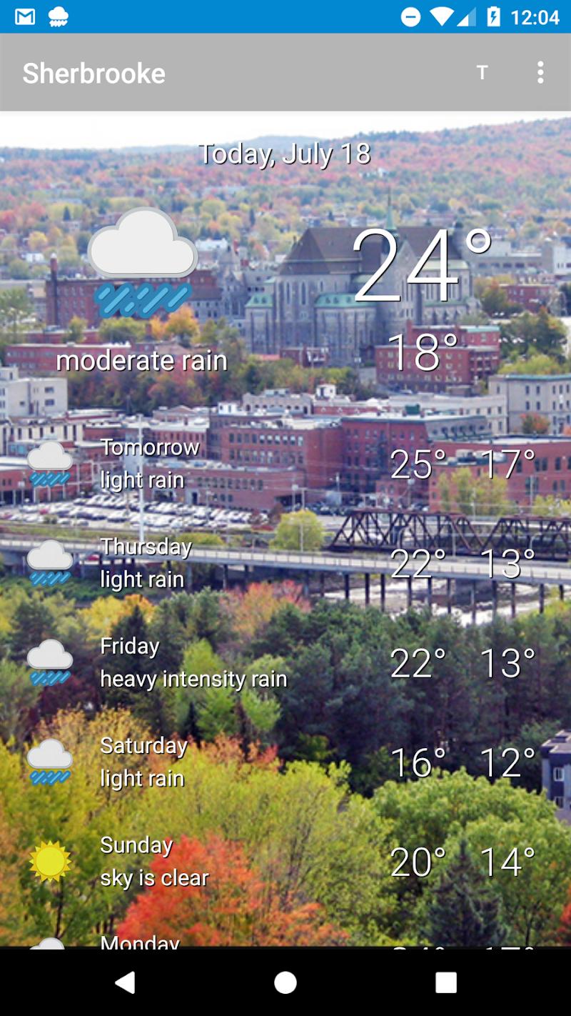Скриншот Sherbrooke, Quebec - weather