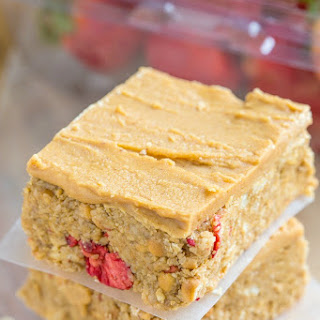 Healthy No Bake Peanut Butter and Strawberry Bars
