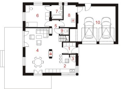 Dom przy Malowniczej 2 - Rzut parteru
