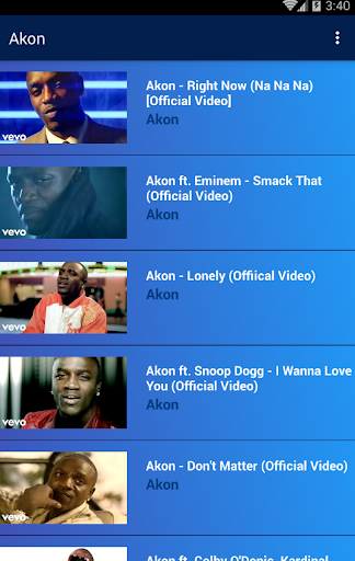 Akon Popular Songs | Video Collection App Report on Mobile Action