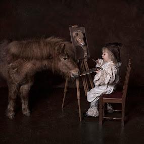 Painting my friend by Carola Kayen-mouthaan - Babies & Children Child Portraits ( child, horse, fine art, painting, rat,  )